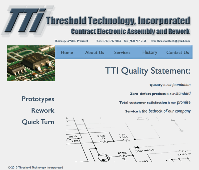 Website and logo design, writing content (http://thresholdtechnologyinc.com)